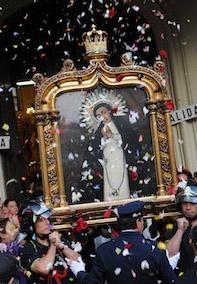 Cuadro con la representación de la virgen de la Paloma